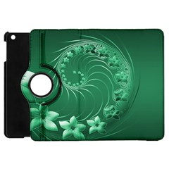 Green Abstract Flowers Apple Ipad Mini Flip 360 Case