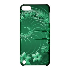 Green Abstract Flowers Apple Ipod Touch 5 Hardshell Case With Stand by BestCustomGiftsForYou