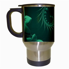 Dark Green Abstract Flowers Travel Mug (white) by BestCustomGiftsForYou