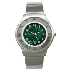 Dark Green Abstract Flowers Stainless Steel Watch (unisex) by BestCustomGiftsForYou