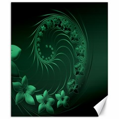 Dark Green Abstract Flowers Canvas 20  X 24  (unframed) by BestCustomGiftsForYou