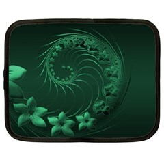 Dark Green Abstract Flowers Netbook Case (xl)