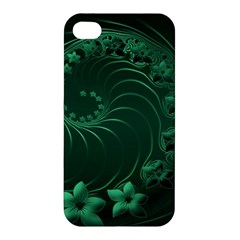 Dark Green Abstract Flowers Apple Iphone 4/4s Hardshell Case by BestCustomGiftsForYou