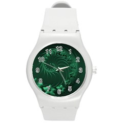 Dark Green Abstract Flowers Plastic Sport Watch (medium)