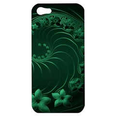 Dark Green Abstract Flowers Apple Iphone 5 Hardshell Case by BestCustomGiftsForYou