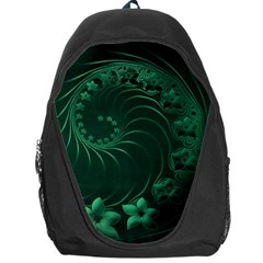 Dark Green Abstract Flowers Backpack Bag