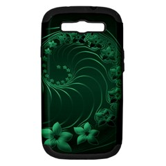 Dark Green Abstract Flowers Samsung Galaxy S Iii Hardshell Case (pc+silicone) by BestCustomGiftsForYou