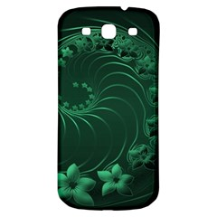 Dark Green Abstract Flowers Samsung Galaxy S3 S Iii Classic Hardshell Back Case