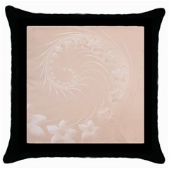 Pastel Brown Abstract Flowers Black Throw Pillow Case by BestCustomGiftsForYou