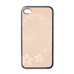Pastel Brown Abstract Flowers Apple Iphone 4 Case (black) by BestCustomGiftsForYou