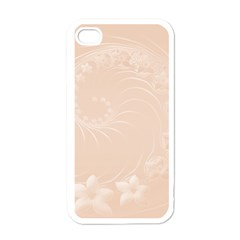 Pastel Brown Abstract Flowers Apple Iphone 4 Case (white) by BestCustomGiftsForYou