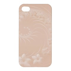 Pastel Brown Abstract Flowers Apple Iphone 4/4s Hardshell Case by BestCustomGiftsForYou