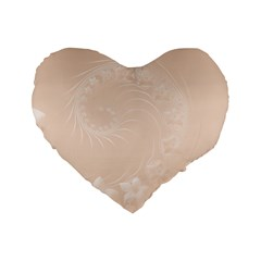 Pastel Brown Abstract Flowers 16  Premium Heart Shape Cushion