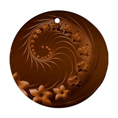 Brown Abstract Flowers Round Ornament (two Sides)
