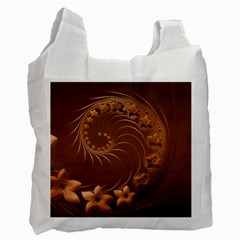 Brown Abstract Flowers Recycle Bag (one Side) by BestCustomGiftsForYou
