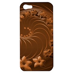 Brown Abstract Flowers Apple Iphone 5 Hardshell Case by BestCustomGiftsForYou
