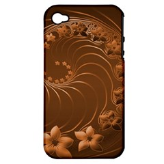 Brown Abstract Flowers Apple Iphone 4/4s Hardshell Case (pc+silicone) by BestCustomGiftsForYou