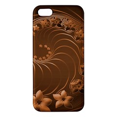 Brown Abstract Flowers Iphone 5 Premium Hardshell Case