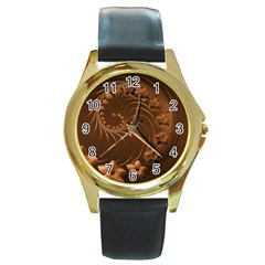 Dark Brown Abstract Flowers Round Metal Watch (gold Rim)  by BestCustomGiftsForYou