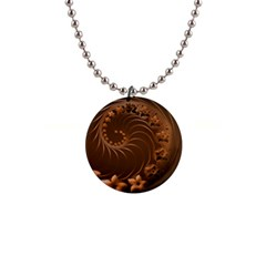 Dark Brown Abstract Flowers Button Necklace by BestCustomGiftsForYou
