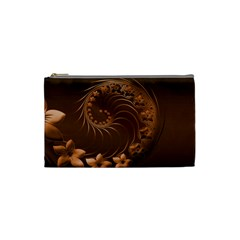 Dark Brown Abstract Flowers Cosmetic Bag (small) by BestCustomGiftsForYou