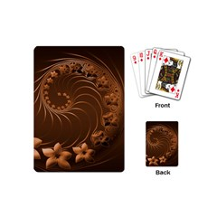 Dark Brown Abstract Flowers Playing Cards (mini) by BestCustomGiftsForYou