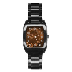 Dark Brown Abstract Flowers Men s Stainless Steel Barrel Analog Watch by BestCustomGiftsForYou