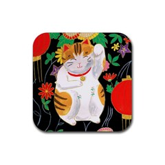 Maneki Neko Drink Coasters 4 Pack (square) by TabbyCatStudios