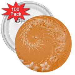 Orange Abstract Flowers 3  Button (100 Pack) by BestCustomGiftsForYou