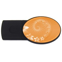 Orange Abstract Flowers 2gb Usb Flash Drive (oval) by BestCustomGiftsForYou