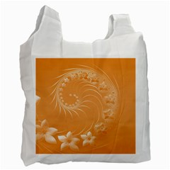 Orange Abstract Flowers Recycle Bag (one Side) by BestCustomGiftsForYou