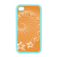 Orange Abstract Flowers Apple Iphone 4 Case (color) by BestCustomGiftsForYou