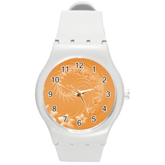 Orange Abstract Flowers Plastic Sport Watch (medium) by BestCustomGiftsForYou