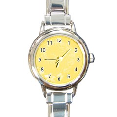 Yellow Abstract Flowers Round Italian Charm Watch by BestCustomGiftsForYou