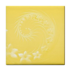 Yellow Abstract Flowers Ceramic Tile by BestCustomGiftsForYou