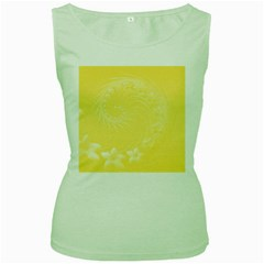 Yellow Abstract Flowers Womens  Tank Top (green) by BestCustomGiftsForYou