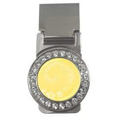 Yellow Abstract Flowers Money Clip (cz)
