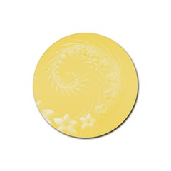 Yellow Abstract Flowers Drink Coasters 4 Pack (round)