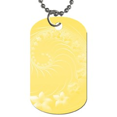 Yellow Abstract Flowers Dog Tag (two Sided)  by BestCustomGiftsForYou