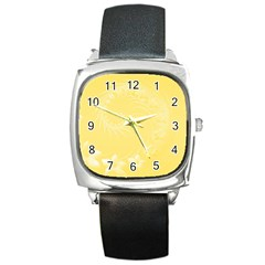 Yellow Abstract Flowers Square Leather Watch by BestCustomGiftsForYou