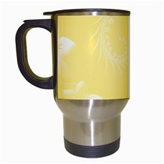 Yellow Abstract Flowers Travel Mug (white) by BestCustomGiftsForYou