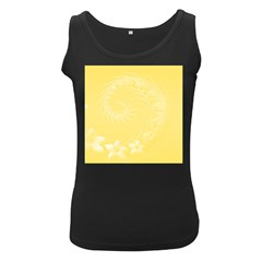 Yellow Abstract Flowers Womens  Tank Top (black) by BestCustomGiftsForYou