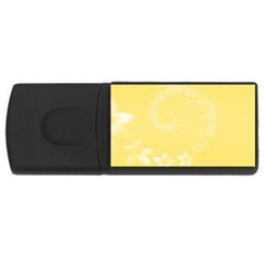 Yellow Abstract Flowers 4gb Usb Flash Drive (rectangle) by BestCustomGiftsForYou