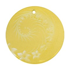 Yellow Abstract Flowers Round Ornament (two Sides) by BestCustomGiftsForYou