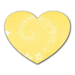 Yellow Abstract Flowers Mouse Pad (heart) by BestCustomGiftsForYou