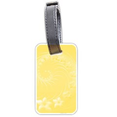 Yellow Abstract Flowers Luggage Tag (two Sides) by BestCustomGiftsForYou