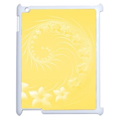 Yellow Abstract Flowers Apple Ipad 2 Case (white) by BestCustomGiftsForYou
