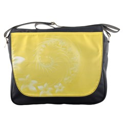 Yellow Abstract Flowers Messenger Bag