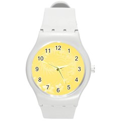 Yellow Abstract Flowers Plastic Sport Watch (medium) by BestCustomGiftsForYou