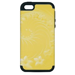 Yellow Abstract Flowers Apple Iphone 5 Hardshell Case (pc+silicone) by BestCustomGiftsForYou